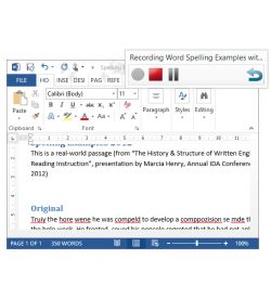 AudioNote Screenshot of Toolbar over Microsoft Word with Audio File
