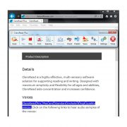 ClaroRead Plus Screenshot of Toolbar and Internet Explorer