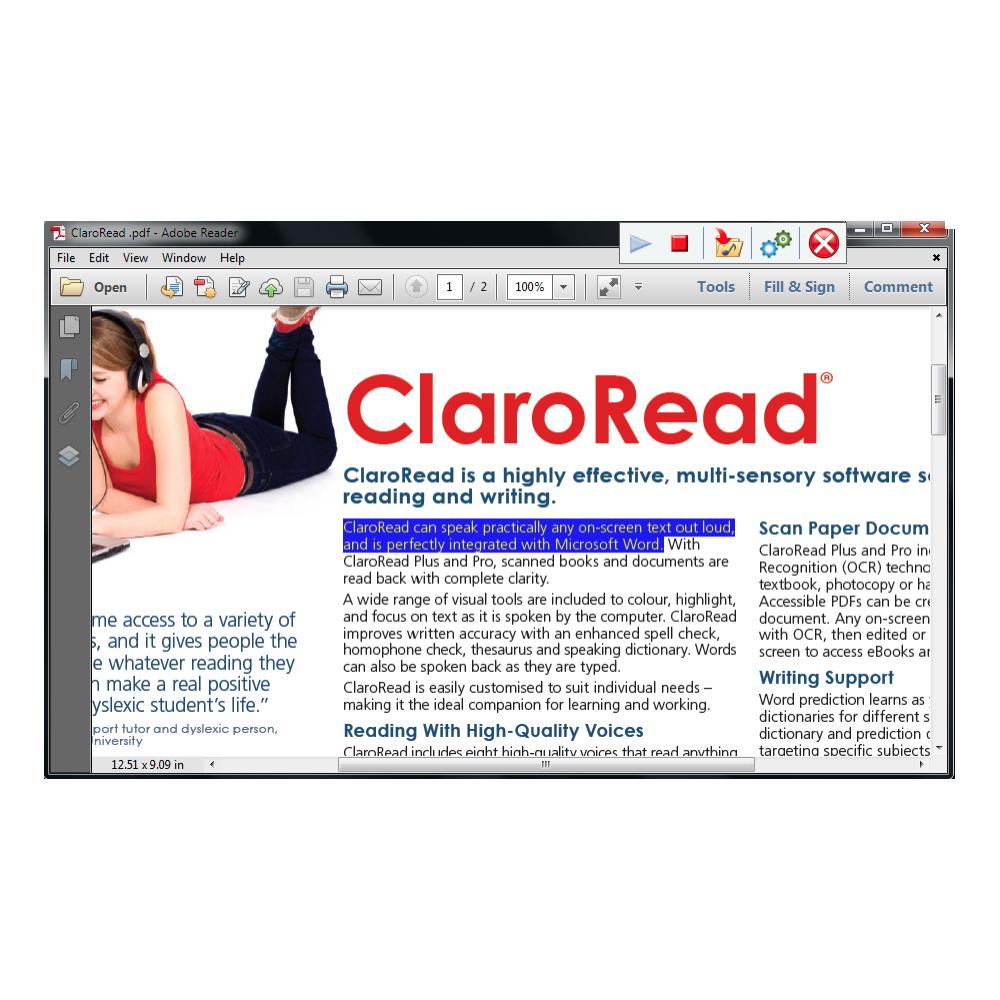 ClaroRead SE Screenshot Showing Highlighting PDF