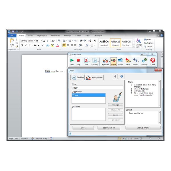 ClaroRead Standard Dictionary inside a Microsoft Word Document
