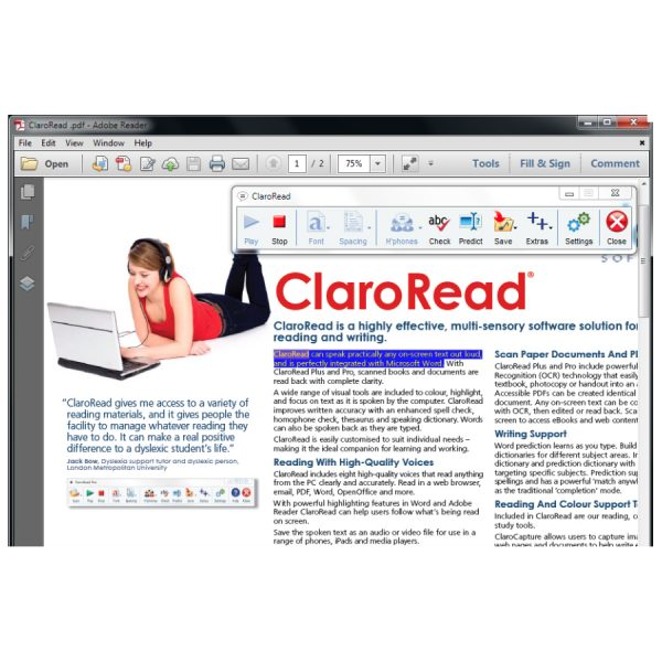 ClaroRead Standard Screenshot inside a PDF Document