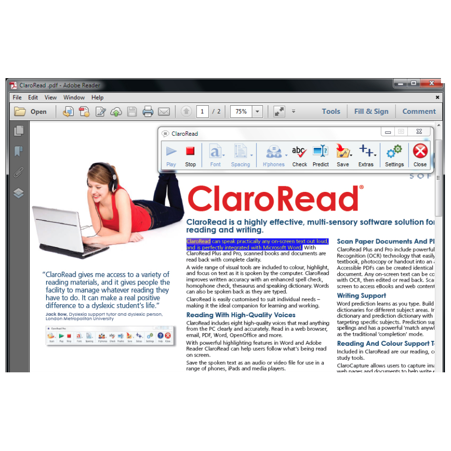 ClaroRead Standard Screenshot inside a PDF Document